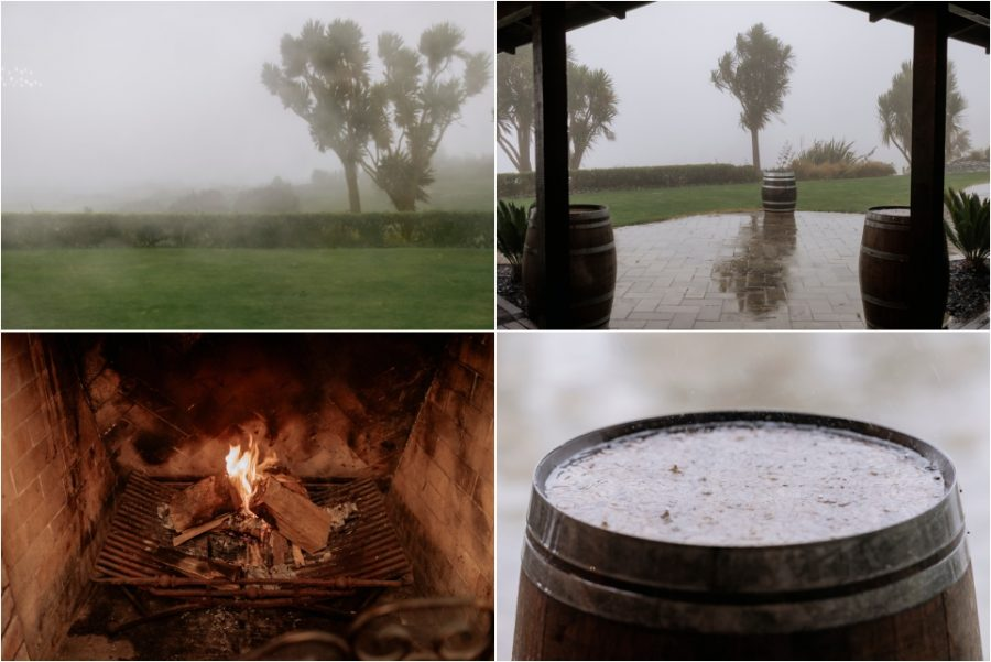 Winter rainy wedding day photos of fireplace and puddles
