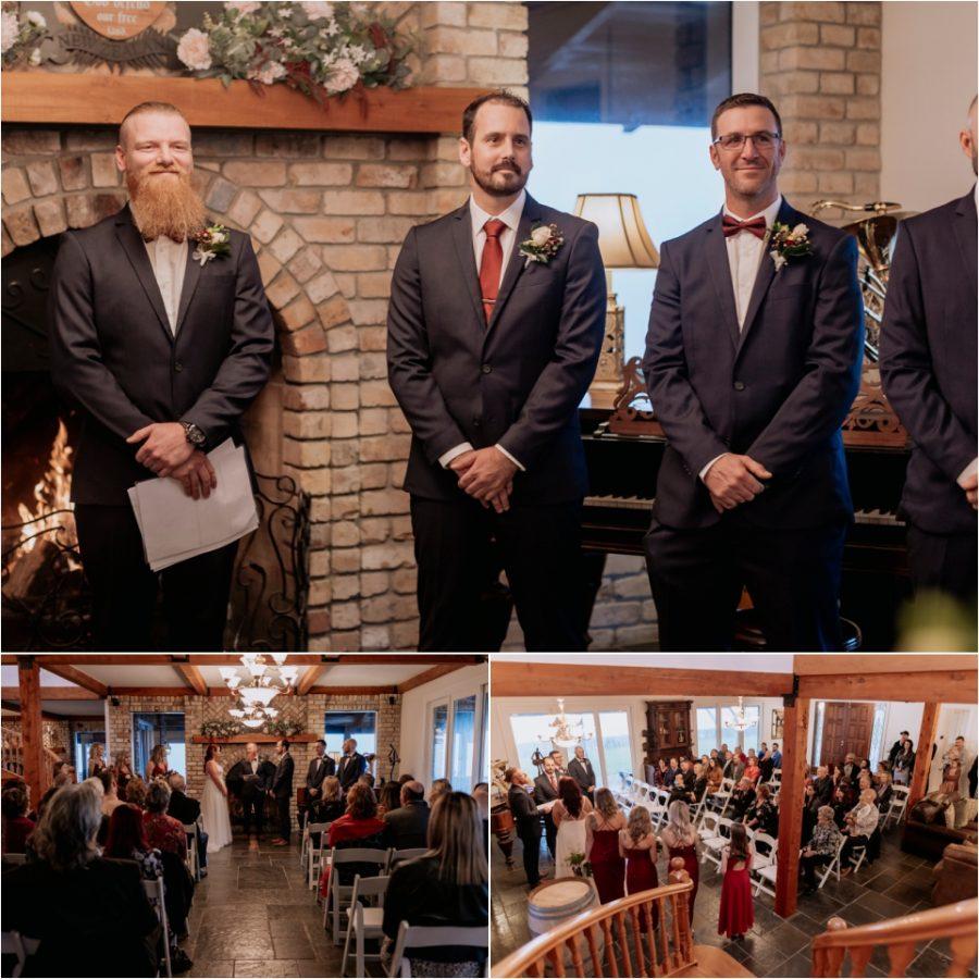 Groom watches bride walk down aisle at Eagle Ridge estate Lodge