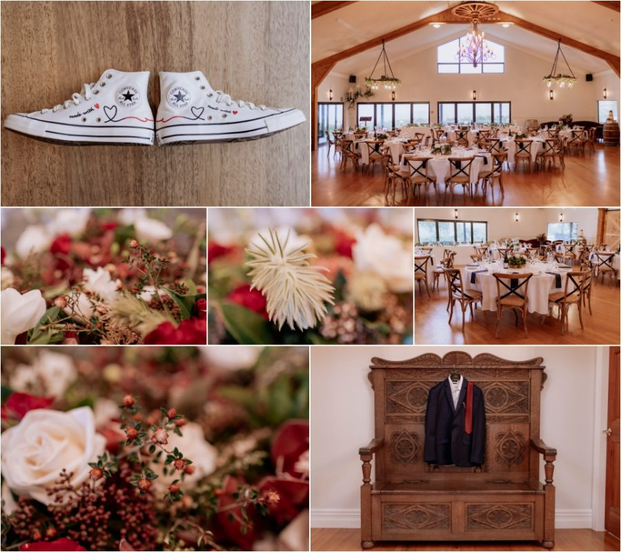 Wedding bridal chucks and wedding winter floral colours