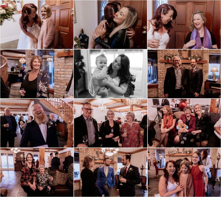 Candid wedding photos of happy guests