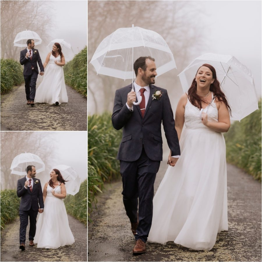 Happy laughing bridal photos walking in the rain
